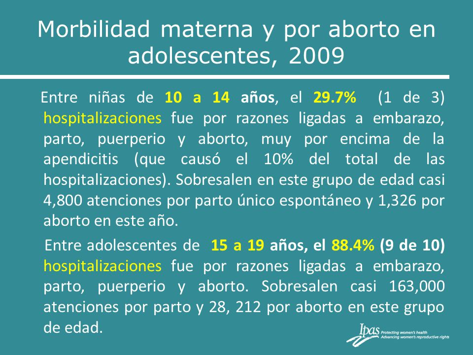 Entre niñas de 10 a 14 años, el 29.7% (1 de 3) hospitalizaciones fue por razones ligadas a embarazo, parto, puerperio y aborto, muy por encima de la a