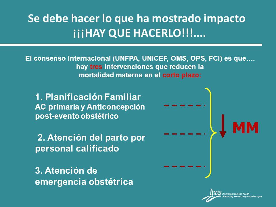 1. Planificación Familiar AC primaria y Anticoncepción post-evento obstétrico 2. Atención del parto por personal calificado 3. Atención de emergencia