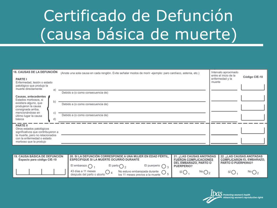Certificado de Defunción (causa básica de muerte)