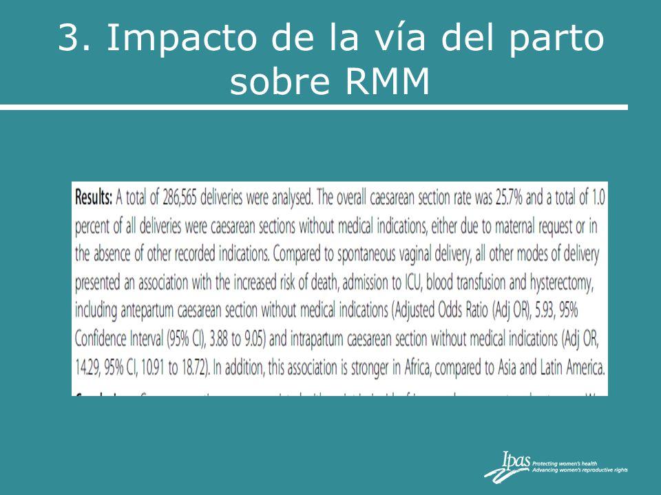 3. Impacto de la vía del parto sobre RMM