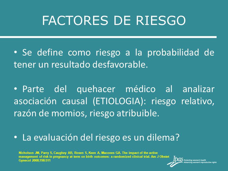 FACTORES DE RIESGO Se define como riesgo a la probabilidad de tener un resultado desfavorable. Parte del quehacer médico al analizar asociación causal
