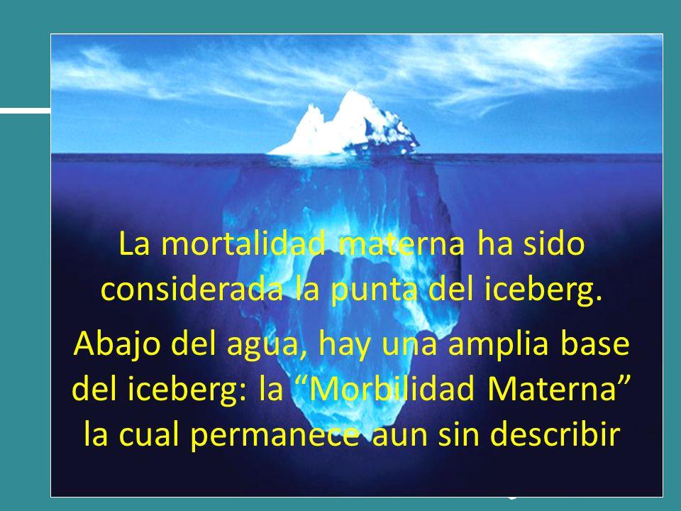 La mortalidad materna ha sido considerada la punta del iceberg. Abajo del agua, hay una amplia base del iceberg: la Morbilidad Materna la cual permane