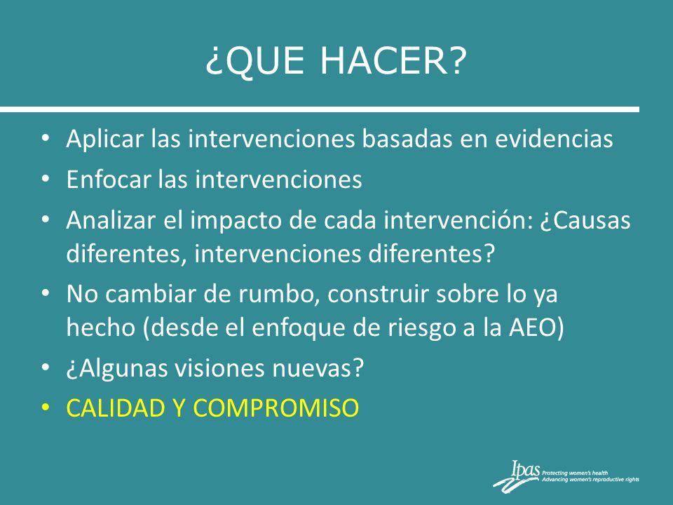 ¿QUE HACER? Aplicar las intervenciones basadas en evidencias Enfocar las intervenciones Analizar el impacto de cada intervención: ¿Causas diferentes,