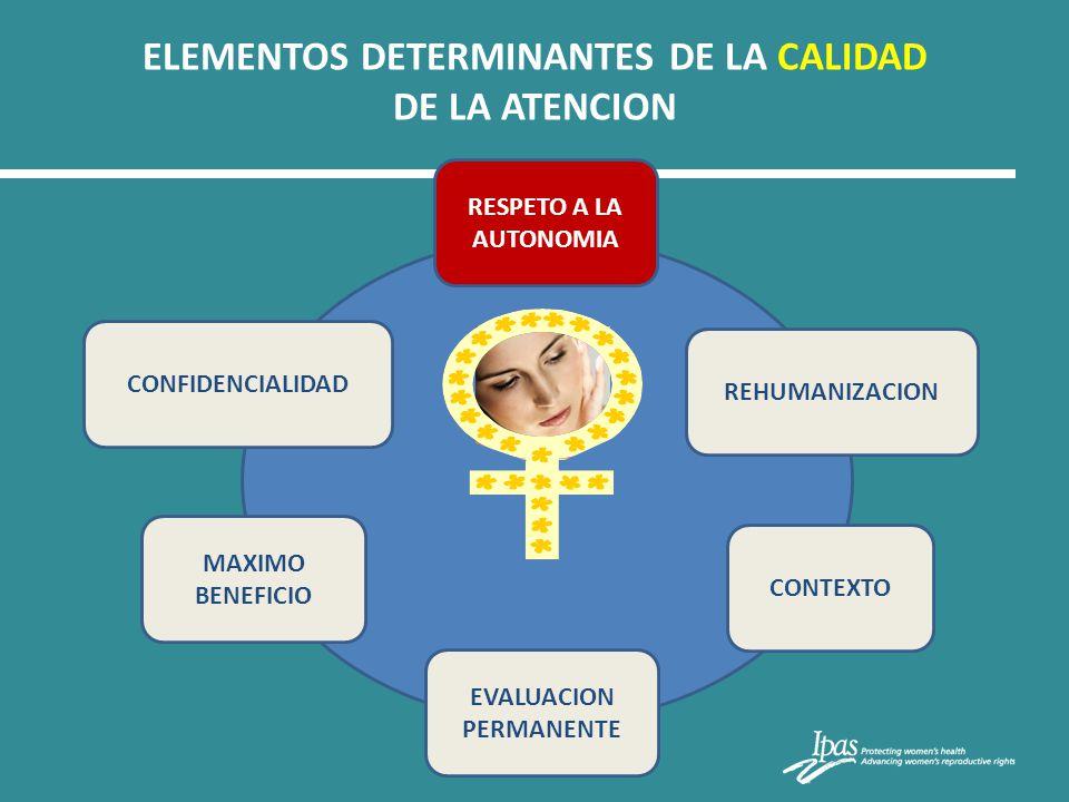 ELEMENTOS DETERMINANTES DE LA CALIDAD DE LA ATENCION CONTEXTO MAXIMO BENEFICIO EVALUACION PERMANENTE RESPETO A LA AUTONOMIA CONFIDENCIALIDAD REHUMANIZ