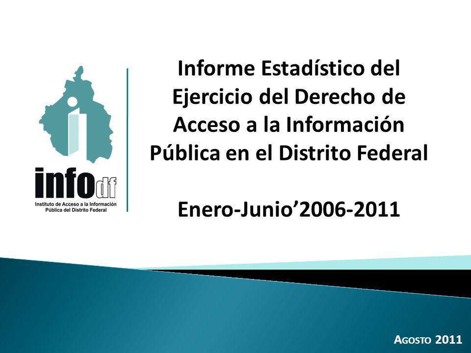 Total de solicitudes, 2004-2011: 309,075 Incremento 2006-2007: 187.6% Incremento 2007-2008: 116.2% 2 Incremento 2008-2009: 133.8% 1.1 Total de solicitudes a los Sujetos obligados del Distrito Federal (solicitudes de información pública y de datos personales) 2004 a Enero-Junio de 2011 Incremento 2004-2005: 63.6% Incremento 2005-2006: 51.9% Decremento 2009-2010: -6.9%