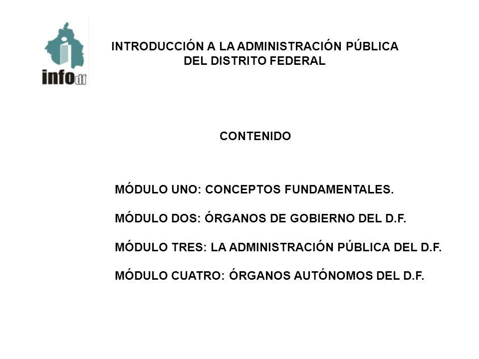 INTRODUCCIÓN A LA ADMINISTRACIÓN PÚBLICA DEL DISTRITO FEDERAL CONTENIDO MÓDULO UNO: CONCEPTOS FUNDAMENTALES. MÓDULO DOS: ÓRGANOS DE GOBIERNO DEL D.F.