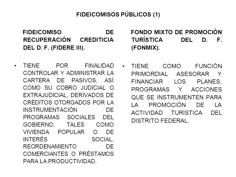 FIDEICOMISOS PÚBLICOS (1) FIDEICOMISO DE RECUPERACIÓN CREDITICIA DEL D. F. (FIDERE III). TIENE POR FINALIDAD CONTROLAR Y ADMINISTRAR LA CARTERA DE PAS