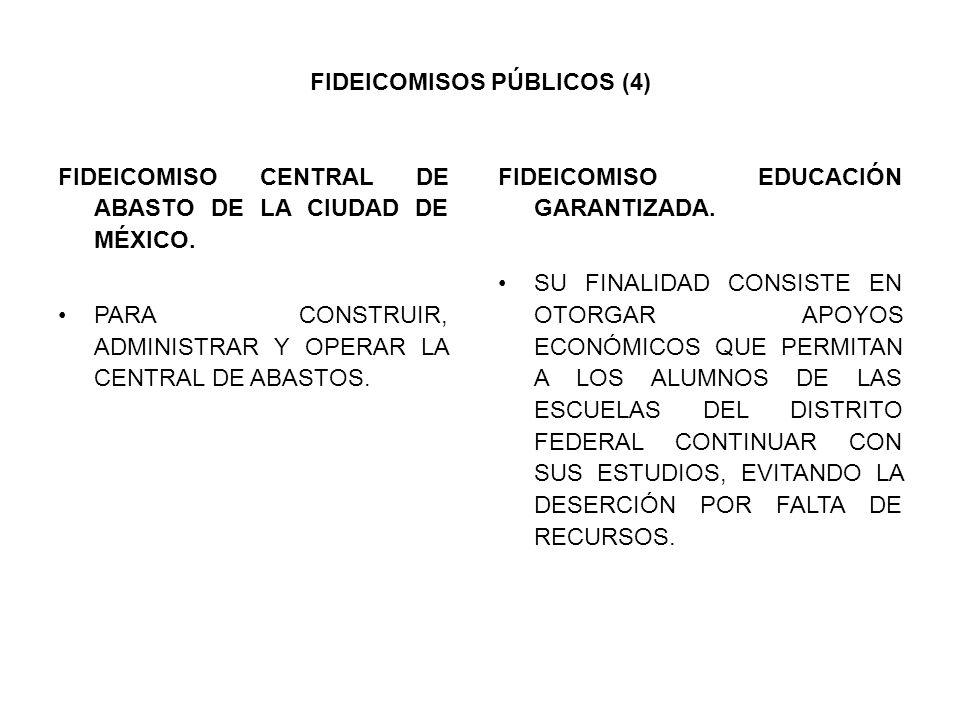 FIDEICOMISOS PÚBLICOS (4) FIDEICOMISO CENTRAL DE ABASTO DE LA CIUDAD DE MÉXICO. PARA CONSTRUIR, ADMINISTRAR Y OPERAR LA CENTRAL DE ABASTOS. FIDEICOMIS