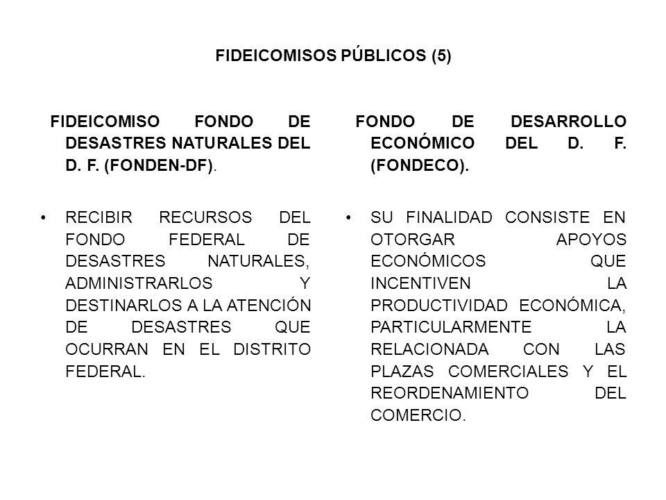 FIDEICOMISOS PÚBLICOS (5) FIDEICOMISO FONDO DE DESASTRES NATURALES DEL D. F. (FONDEN-DF). RECIBIR RECURSOS DEL FONDO FEDERAL DE DESASTRES NATURALES, A