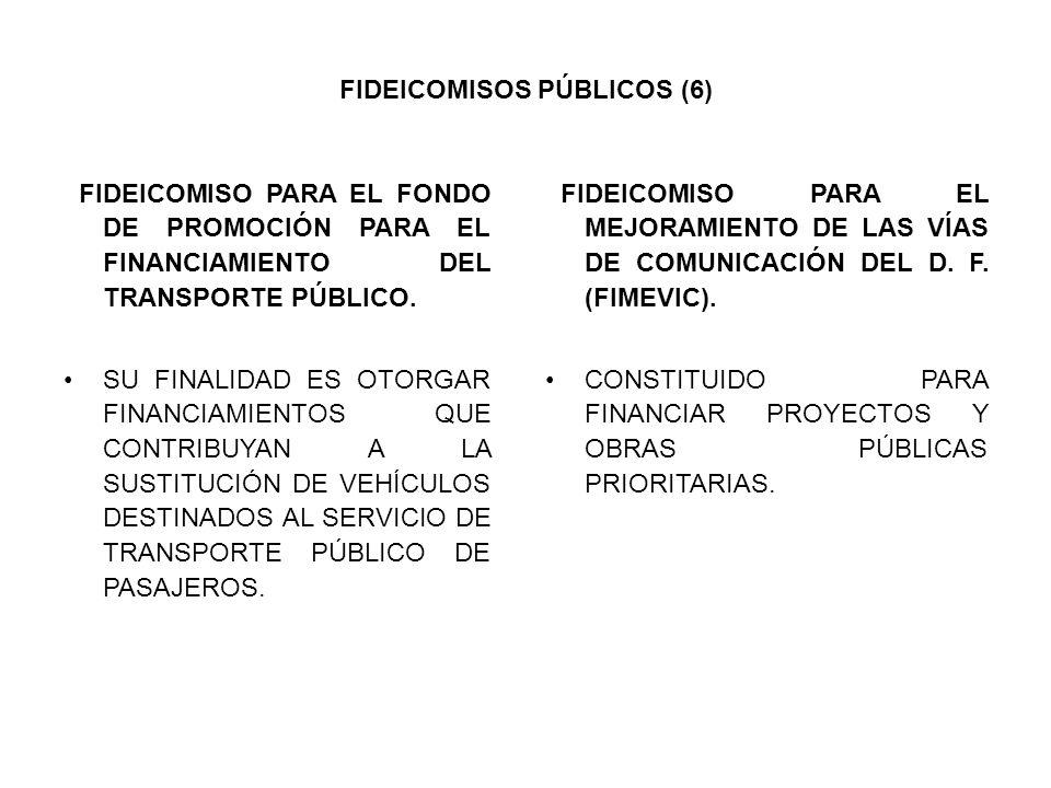 FIDEICOMISOS PÚBLICOS (6) FIDEICOMISO PARA EL FONDO DE PROMOCIÓN PARA EL FINANCIAMIENTO DEL TRANSPORTE PÚBLICO. SU FINALIDAD ES OTORGAR FINANCIAMIENTO