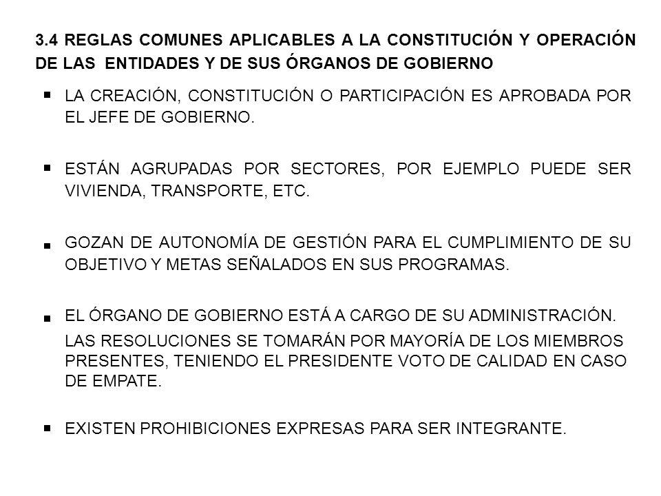 3.4 REGLAS COMUNES APLICABLES A LA CONSTITUCIÓN Y OPERACIÓN DE LAS ENTIDADES Y DE SUS ÓRGANOS DE GOBIERNO LA CREACIÓN, CONSTITUCIÓN O PARTICIPACIÓN ES APROBADA POR EL JEFE DE GOBIERNO.