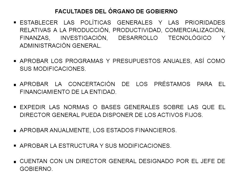 FACULTADES DEL ÓRGANO DE GOBIERNO ESTABLECER LAS POLÍTICAS GENERALES Y LAS PRIORIDADES RELATIVAS A LA PRODUCCIÓN, PRODUCTIVIDAD, COMERCIALIZACIÓN, FINANZAS, INVESTIGACIÓN, DESARROLLO TECNOLÓGICO Y ADMINISTRACIÓN GENERAL.