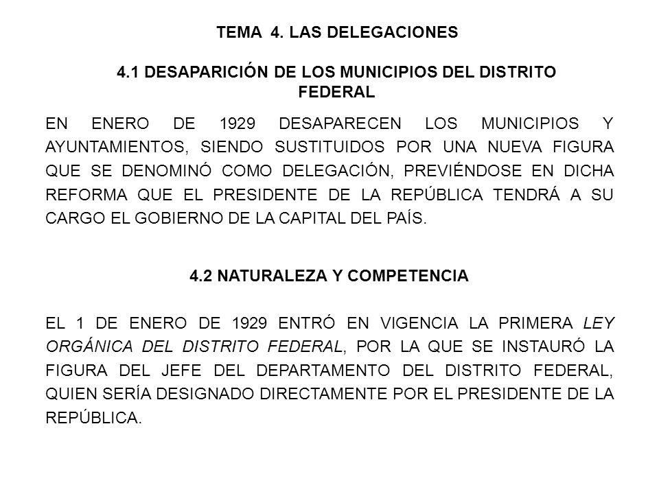 TEMA 4. LAS DELEGACIONES 4.1 DESAPARICIÓN DE LOS MUNICIPIOS DEL DISTRITO FEDERAL EN ENERO DE 1929 DESAPARECEN LOS MUNICIPIOS Y AYUNTAMIENTOS, SIENDO S