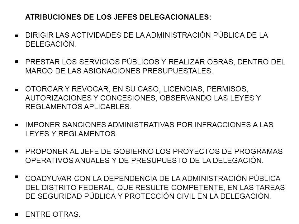 ATRIBUCIONES DE LOS JEFES DELEGACIONALES: DIRIGIR LAS ACTIVIDADES DE LA ADMINISTRACIÓN PÚBLICA DE LA DELEGACIÓN. PRESTAR LOS SERVICIOS PÚBLICOS Y REAL
