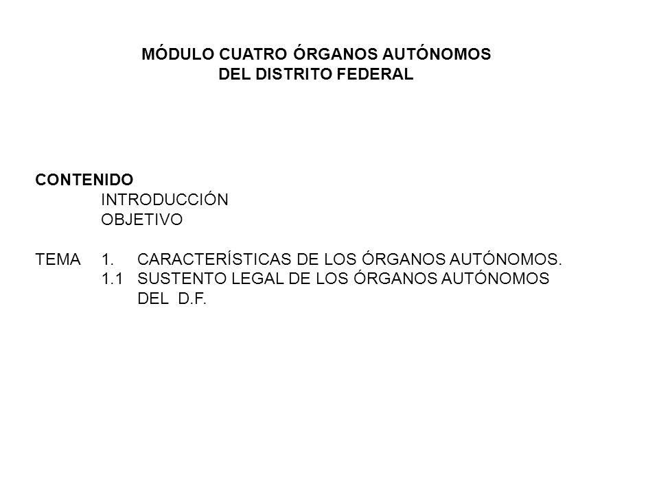 CONTENIDO INTRODUCCIÓN OBJETIVO TEMA 1. CARACTERÍSTICAS DE LOS ÓRGANOS AUTÓNOMOS. 1.1 SUSTENTO LEGAL DE LOS ÓRGANOS AUTÓNOMOS DEL D.F. MÓDULO CUATRO Ó