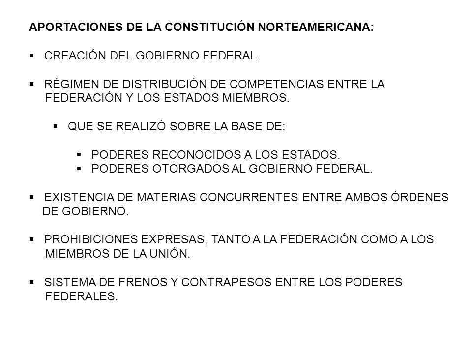 APORTACIONES DE LA CONSTITUCIÓN NORTEAMERICANA: CREACIÓN DEL GOBIERNO FEDERAL. RÉGIMEN DE DISTRIBUCIÓN DE COMPETENCIAS ENTRE LA FEDERACIÓN Y LOS ESTAD