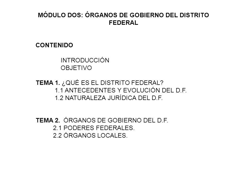 MÓDULO DOS: ÓRGANOS DE GOBIERNO DEL DISTRITO FEDERAL CONTENIDO INTRODUCCIÓN OBJETIVO TEMA 1.