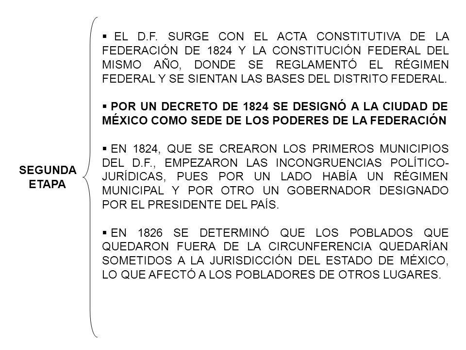 SEGUNDA ETAPA EL D.F. SURGE CON EL ACTA CONSTITUTIVA DE LA FEDERACIÓN DE 1824 Y LA CONSTITUCIÓN FEDERAL DEL MISMO AÑO, DONDE SE REGLAMENTÓ EL RÉGIMEN