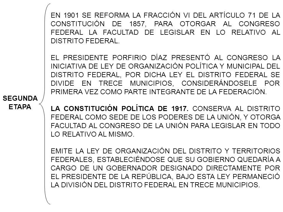 EN 1901 SE REFORMA LA FRACCIÓN VI DEL ARTÍCULO 71 DE LA CONSTITUCIÓN DE 1857, PARA OTORGAR AL CONGRESO FEDERAL LA FACULTAD DE LEGISLAR EN LO RELATIVO AL DISTRITO FEDERAL.