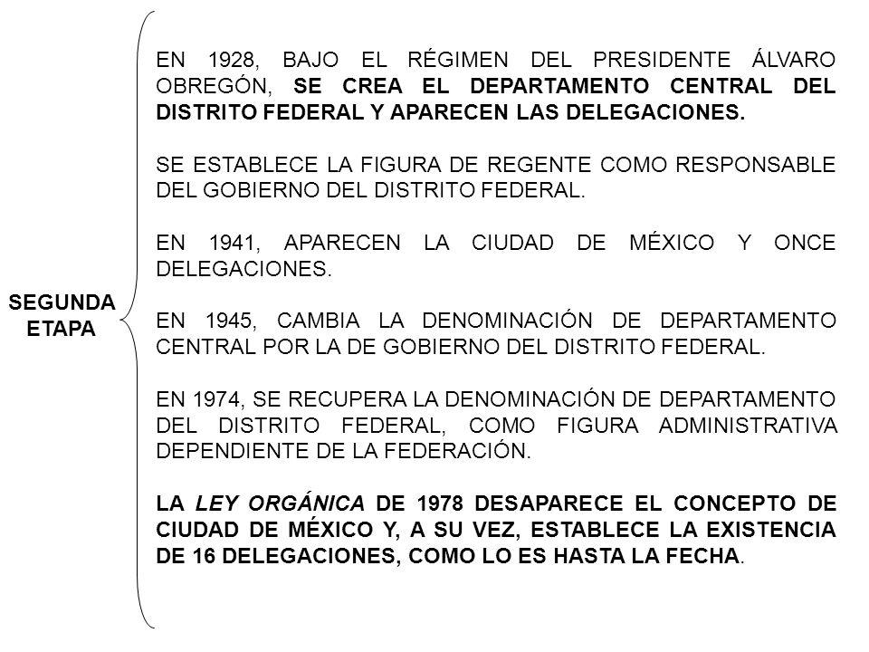 EN 1928, BAJO EL RÉGIMEN DEL PRESIDENTE ÁLVARO OBREGÓN, SE CREA EL DEPARTAMENTO CENTRAL DEL DISTRITO FEDERAL Y APARECEN LAS DELEGACIONES. SE ESTABLECE