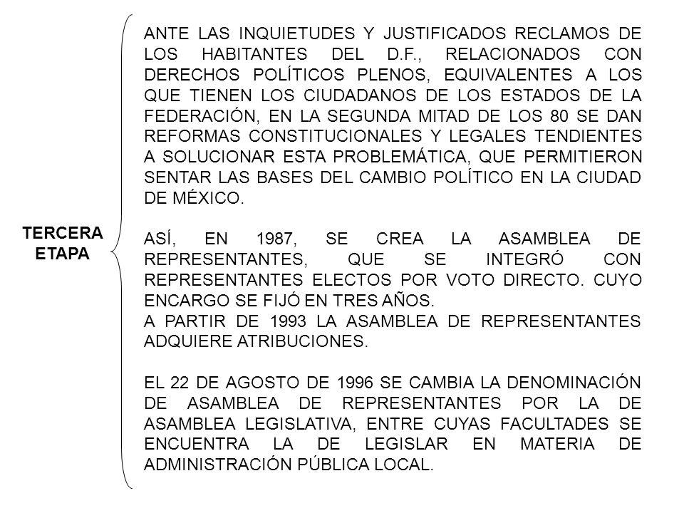 TERCERA ETAPA ANTE LAS INQUIETUDES Y JUSTIFICADOS RECLAMOS DE LOS HABITANTES DEL D.F., RELACIONADOS CON DERECHOS POLÍTICOS PLENOS, EQUIVALENTES A LOS QUE TIENEN LOS CIUDADANOS DE LOS ESTADOS DE LA FEDERACIÓN, EN LA SEGUNDA MITAD DE LOS 80 SE DAN REFORMAS CONSTITUCIONALES Y LEGALES TENDIENTES A SOLUCIONAR ESTA PROBLEMÁTICA, QUE PERMITIERON SENTAR LAS BASES DEL CAMBIO POLÍTICO EN LA CIUDAD DE MÉXICO.