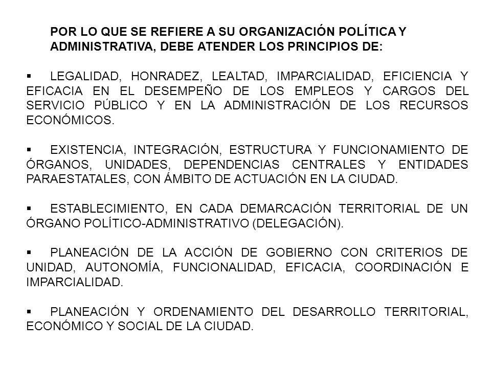 POR LO QUE SE REFIERE A SU ORGANIZACIÓN POLÍTICA Y ADMINISTRATIVA, DEBE ATENDER LOS PRINCIPIOS DE: LEGALIDAD, HONRADEZ, LEALTAD, IMPARCIALIDAD, EFICIENCIA Y EFICACIA EN EL DESEMPEÑO DE LOS EMPLEOS Y CARGOS DEL SERVICIO PÚBLICO Y EN LA ADMINISTRACIÓN DE LOS RECURSOS ECONÓMICOS.