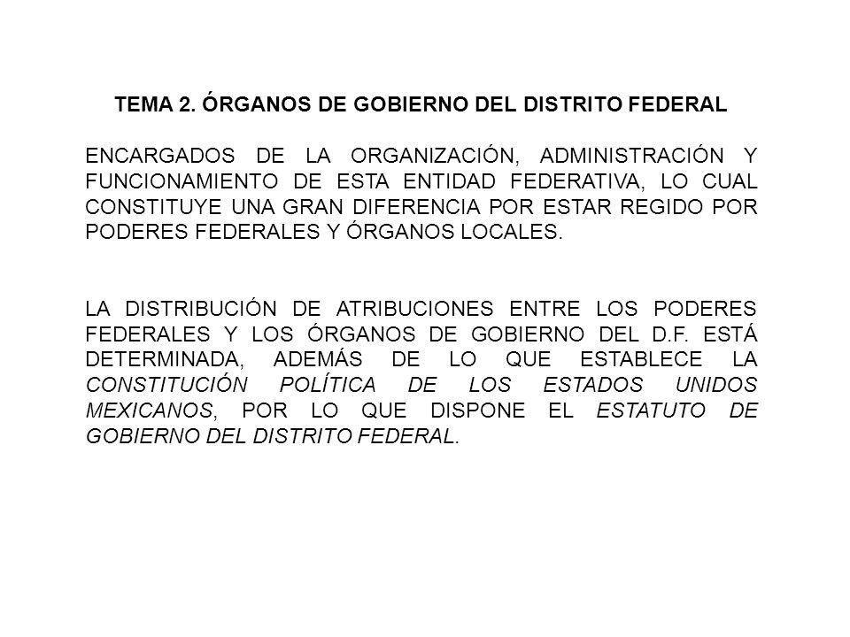 TEMA 2. ÓRGANOS DE GOBIERNO DEL DISTRITO FEDERAL ENCARGADOS DE LA ORGANIZACIÓN, ADMINISTRACIÓN Y FUNCIONAMIENTO DE ESTA ENTIDAD FEDERATIVA, LO CUAL CO