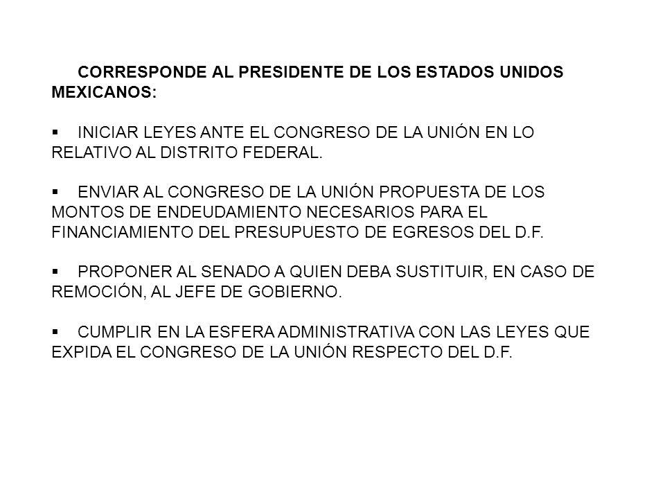 CORRESPONDE AL PRESIDENTE DE LOS ESTADOS UNIDOS MEXICANOS: INICIAR LEYES ANTE EL CONGRESO DE LA UNIÓN EN LO RELATIVO AL DISTRITO FEDERAL. ENVIAR AL CO