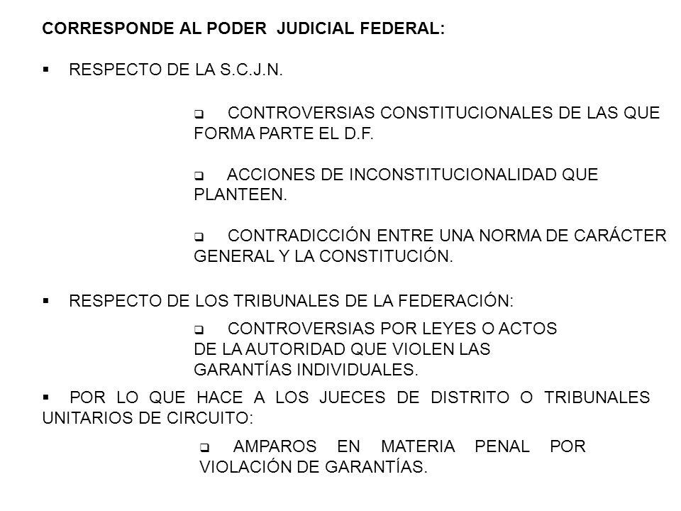 CORRESPONDE AL PODER JUDICIAL FEDERAL: RESPECTO DE LA S.C.J.N. CONTROVERSIAS CONSTITUCIONALES DE LAS QUE FORMA PARTE EL D.F. ACCIONES DE INCONSTITUCIO