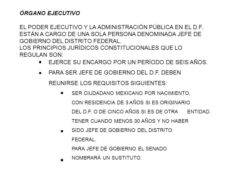 ÓRGANO EJECUTIVO EL PODER EJECUTIVO Y LA ADMINISTRACIÓN PÚBLICA EN EL D.F. ESTÁN A CARGO DE UNA SOLA PERSONA DENOMINADA JEFE DE GOBIERNO DEL DISTRITO