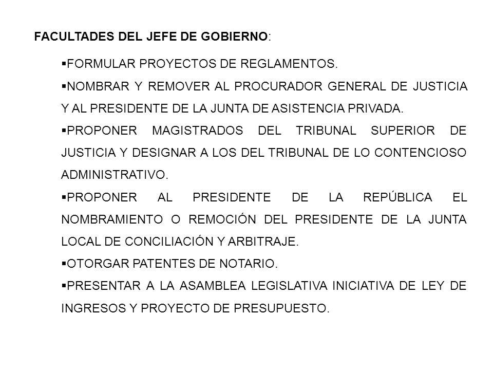 FACULTADES DEL JEFE DE GOBIERNO: FORMULAR PROYECTOS DE REGLAMENTOS. NOMBRAR Y REMOVER AL PROCURADOR GENERAL DE JUSTICIA Y AL PRESIDENTE DE LA JUNTA DE