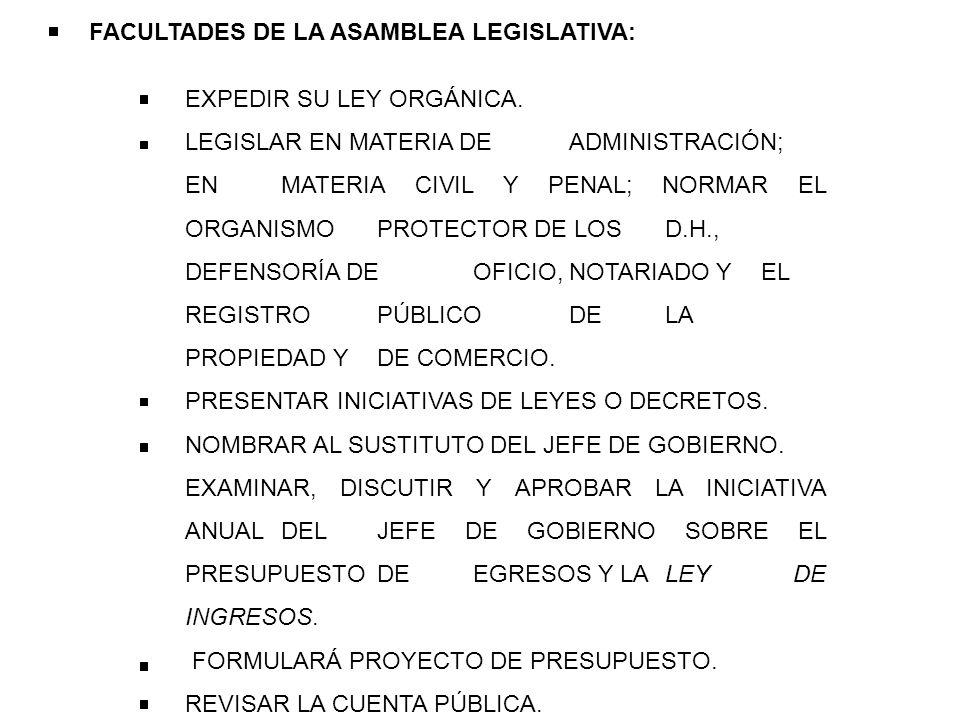 FACULTADES DE LA ASAMBLEA LEGISLATIVA: EXPEDIR SU LEY ORGÁNICA. LEGISLAR EN MATERIA DE ADMINISTRACIÓN; EN MATERIA CIVIL Y PENAL; NORMAR EL ORGANISMO P