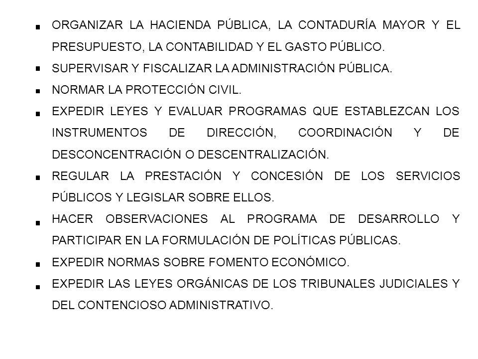 ORGANIZAR LA HACIENDA PÚBLICA, LA CONTADURÍA MAYOR Y EL PRESUPUESTO, LA CONTABILIDAD Y EL GASTO PÚBLICO.
