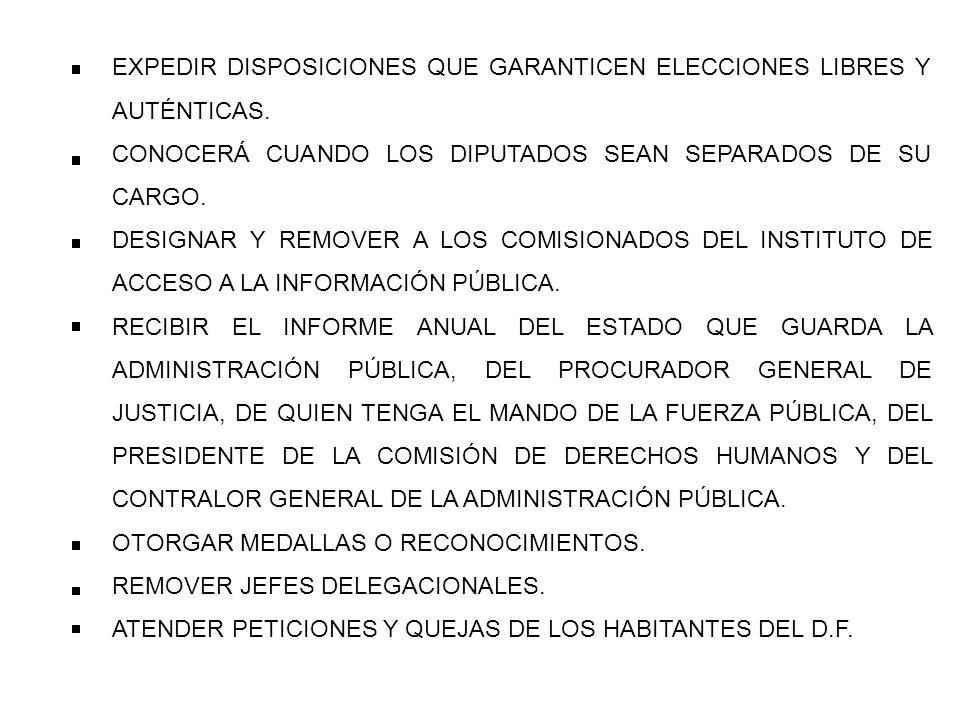 EXPEDIR DISPOSICIONES QUE GARANTICEN ELECCIONES LIBRES Y AUTÉNTICAS.