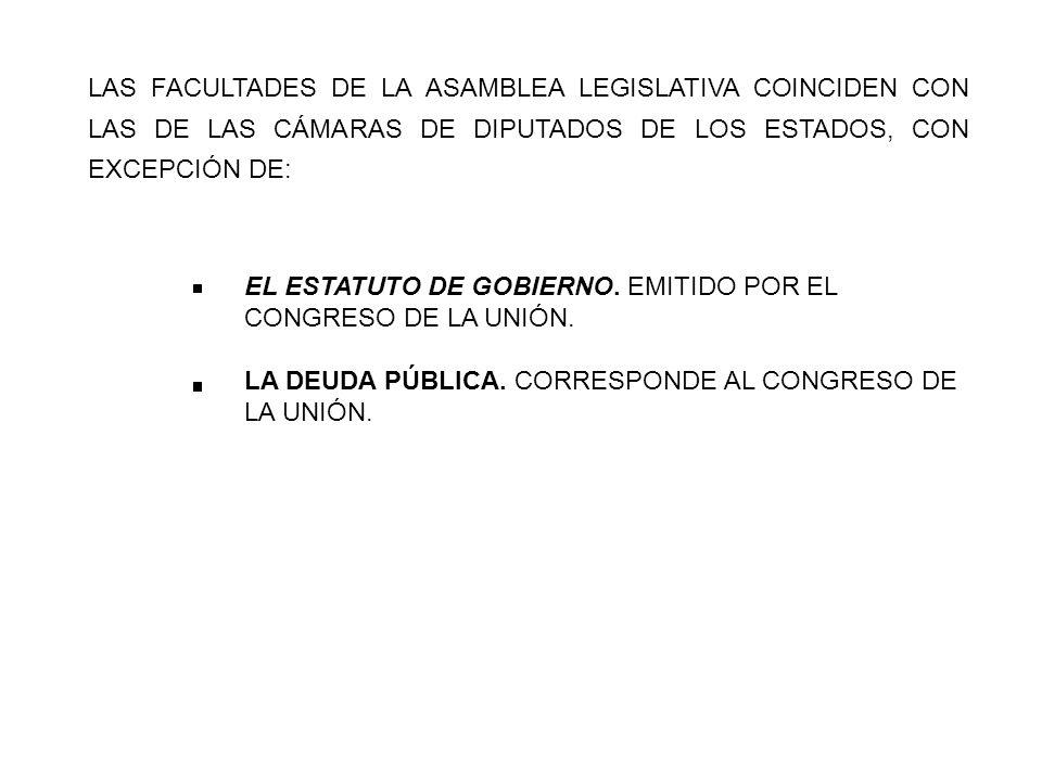 LAS FACULTADES DE LA ASAMBLEA LEGISLATIVA COINCIDEN CON LAS DE LAS CÁMARAS DE DIPUTADOS DE LOS ESTADOS, CON EXCEPCIÓN DE: EL ESTATUTO DE GOBIERNO.
