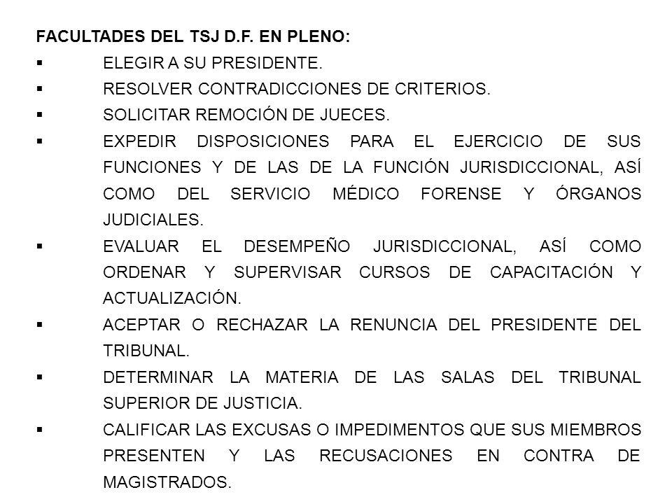 FACULTADES DEL TSJ D.F. EN PLENO: ELEGIR A SU PRESIDENTE. RESOLVER CONTRADICCIONES DE CRITERIOS. SOLICITAR REMOCIÓN DE JUECES. EXPEDIR DISPOSICIONES P
