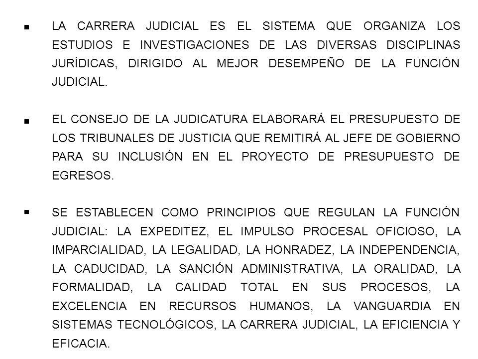 LA CARRERA JUDICIAL ES EL SISTEMA QUE ORGANIZA LOS ESTUDIOS E INVESTIGACIONES DE LAS DIVERSAS DISCIPLINAS JURÍDICAS, DIRIGIDO AL MEJOR DESEMPEÑO DE LA FUNCIÓN JUDICIAL.