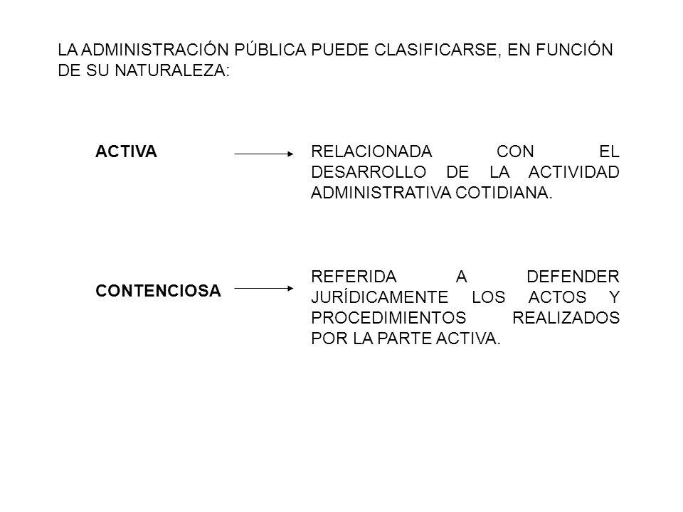 LA ADMINISTRACIÓN PÚBLICA PUEDE CLASIFICARSE, EN FUNCIÓN DE SU NATURALEZA: RELACIONADA CON EL DESARROLLO DE LA ACTIVIDAD ADMINISTRATIVA COTIDIANA.