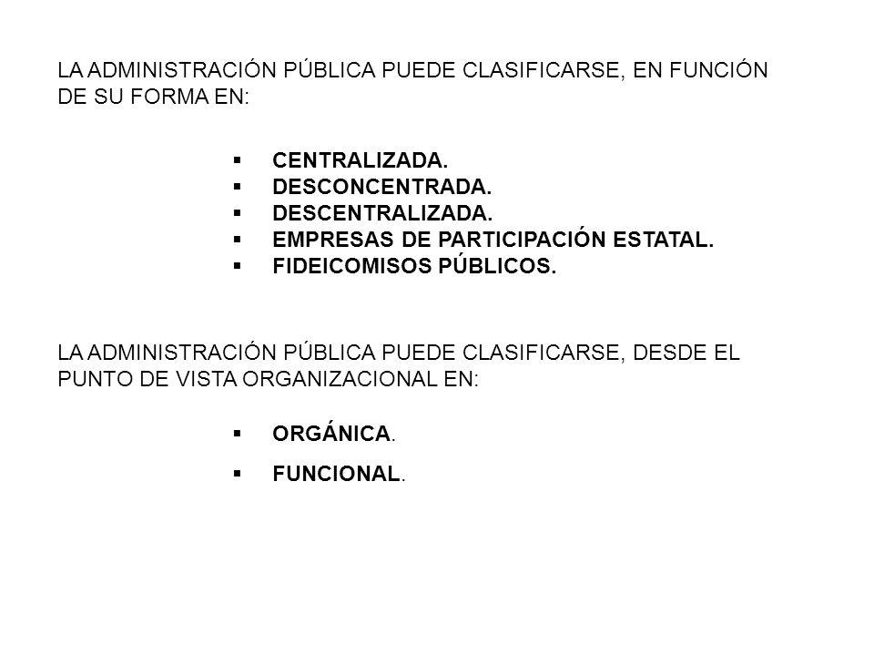 LA ADMINISTRACIÓN PÚBLICA PUEDE CLASIFICARSE, DESDE EL PUNTO DE VISTA ORGANIZACIONAL EN: ORGÁNICA. FUNCIONAL. LA ADMINISTRACIÓN PÚBLICA PUEDE CLASIFIC