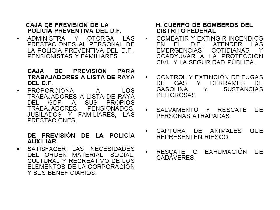CAJA DE PREVISIÓN DE LA POLICÍA PREVENTIVA DEL D.F. ADMINISTRA Y OTORGA LAS PRESTACIONES AL PERSONAL DE LA POLICÍA PREVENTIVA DEL D.F., PENSIONISTAS Y