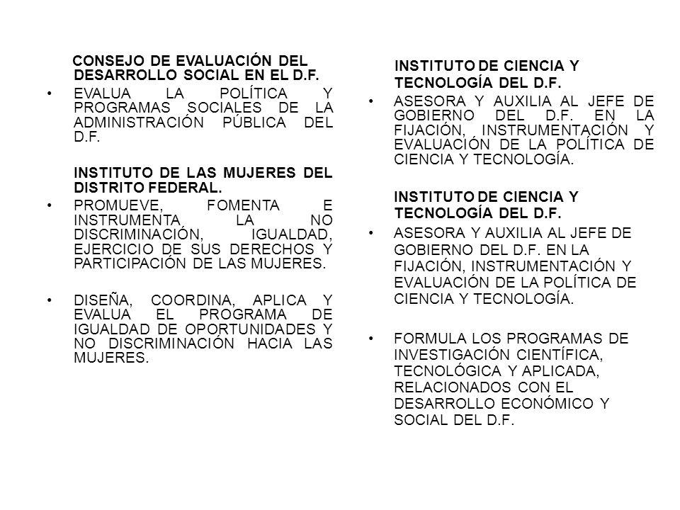 CONSEJO DE EVALUACIÓN DEL DESARROLLO SOCIAL EN EL D.F. EVALUA LA POLÍTICA Y PROGRAMAS SOCIALES DE LA ADMINISTRACIÓN PÚBLICA DEL D.F. INSTITUTO DE LAS