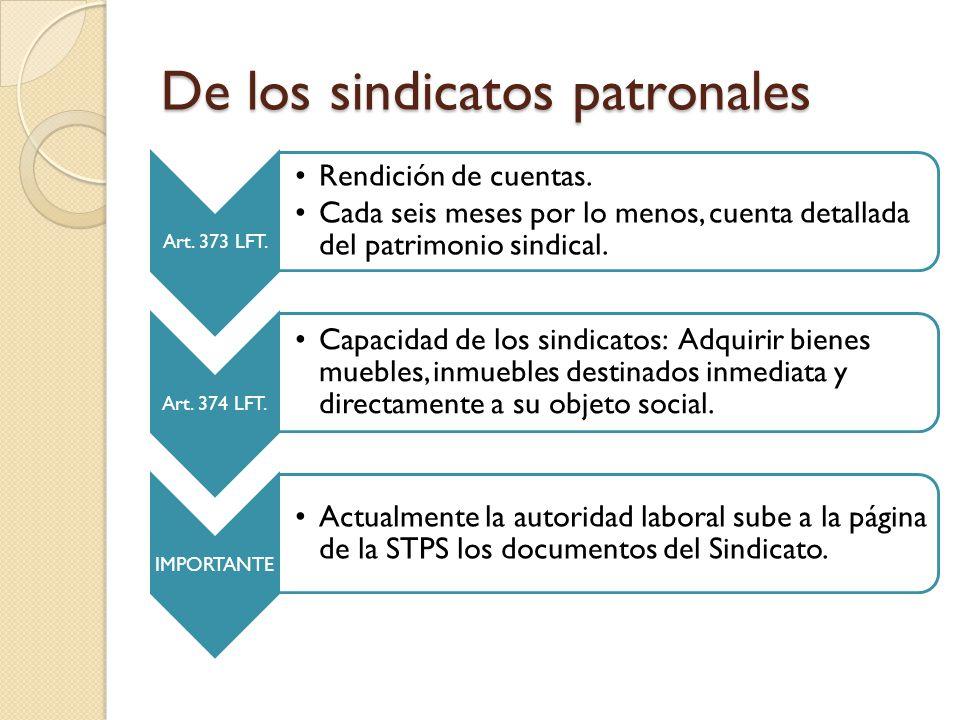 De los sindicatos patronales Art.373 LFT. Rendición de cuentas.