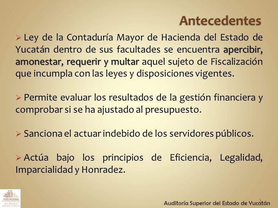apercibir, amonestar, requerir y multar Ley de la Contaduría Mayor de Hacienda del Estado de Yucatán dentro de sus facultades se encuentra apercibir, amonestar, requerir y multar aquel sujeto de Fiscalización que incumpla con las leyes y disposiciones vigentes.