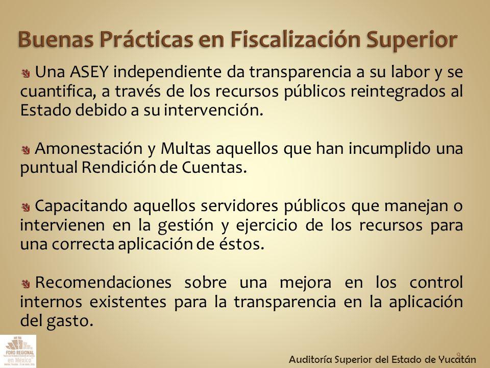 Una ASEY independiente da transparencia a su labor y se cuantifica, a través de los recursos públicos reintegrados al Estado debido a su intervención.