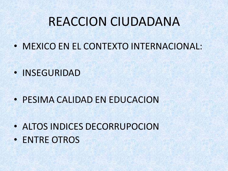 REACCION CIUDADANA MEXICO EN EL CONTEXTO INTERNACIONAL: INSEGURIDAD PESIMA CALIDAD EN EDUCACION ALTOS INDICES DECORRUPOCION ENTRE OTROS