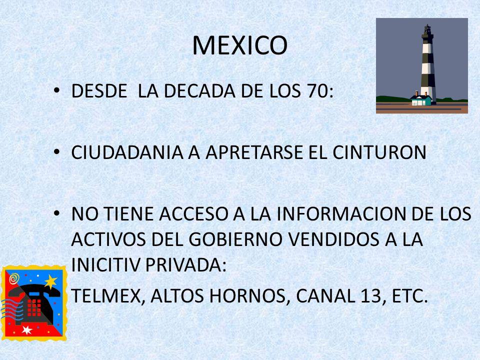 MEXICO DESDE LA DECADA DE LOS 70: CIUDADANIA A APRETARSE EL CINTURON NO TIENE ACCESO A LA INFORMACION DE LOS ACTIVOS DEL GOBIERNO VENDIDOS A LA INICITIV PRIVADA: TELMEX, ALTOS HORNOS, CANAL 13, ETC.