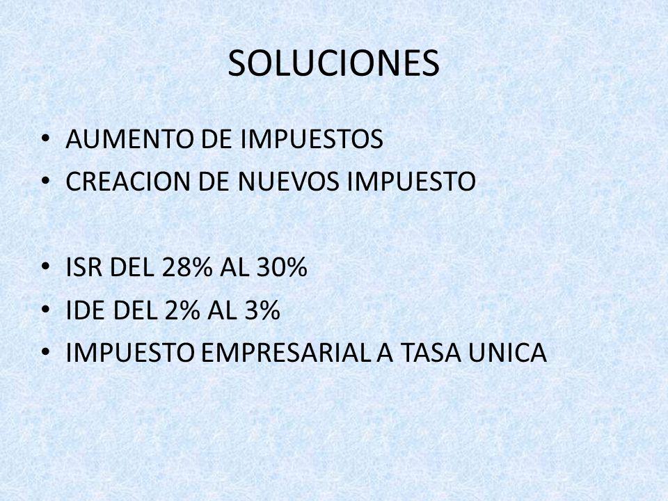 SOLUCIONES AUMENTO DE IMPUESTOS CREACION DE NUEVOS IMPUESTO ISR DEL 28% AL 30% IDE DEL 2% AL 3% IMPUESTO EMPRESARIAL A TASA UNICA