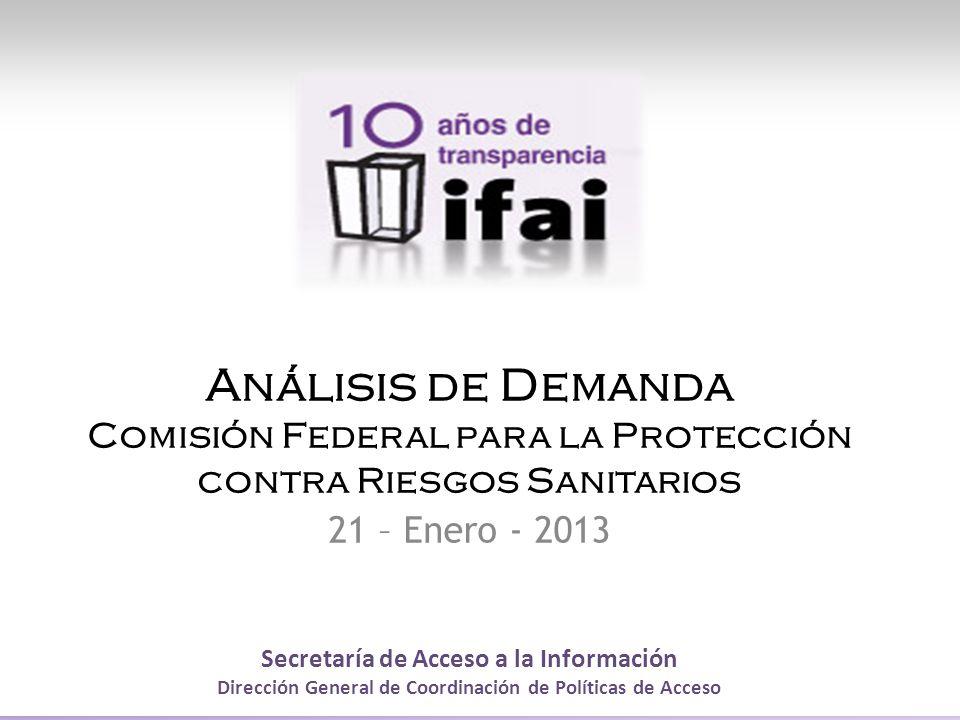 Secretaría de Acceso a la Información Dirección General de Coordinación de Políticas de Acceso Análisis de Demanda Comisión Federal para la Protección contra Riesgos Sanitarios 21 – Enero - 2013
