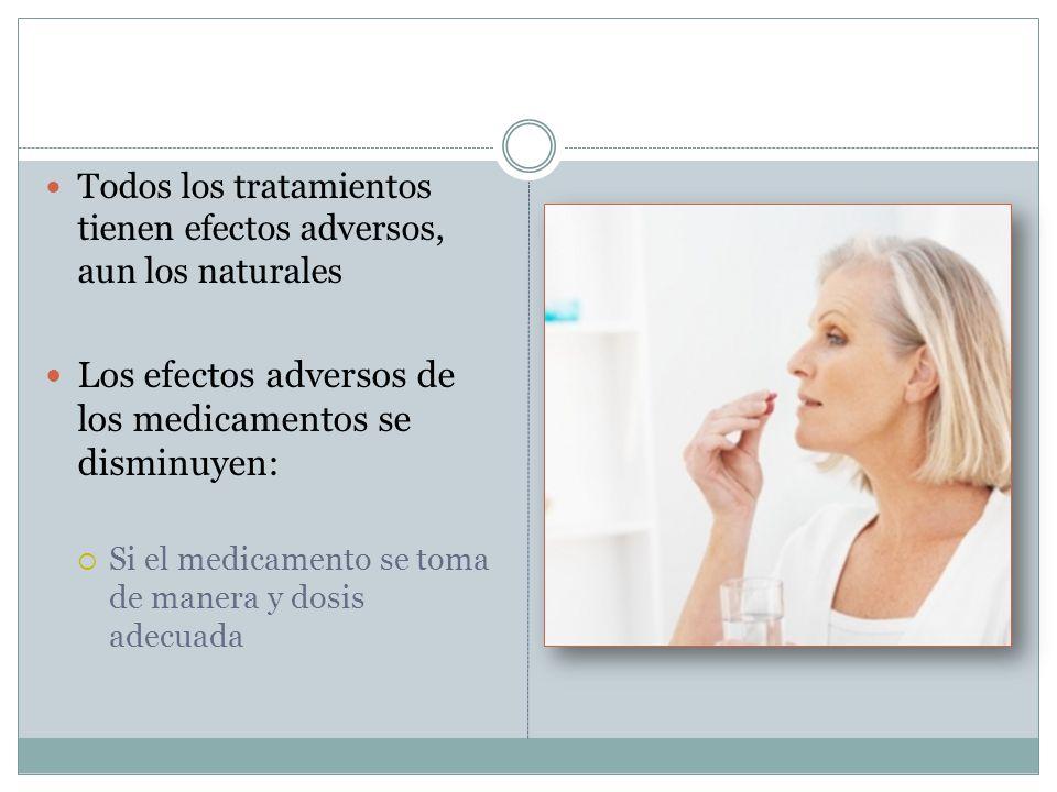 Todos los tratamientos tienen efectos adversos, aun los naturales Los efectos adversos de los medicamentos se disminuyen: Si el medicamento se toma de