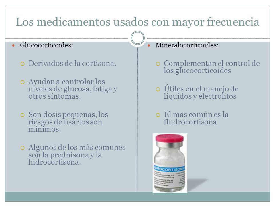Los medicamentos usados con mayor frecuencia Glucocorticoides: Derivados de la cortisona. Ayudan a controlar los niveles de glucosa, fatiga y otros sí